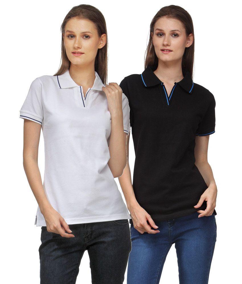 Scott International Combo of White and Black Cotton Blend Polo T-shirts (Set of 2)