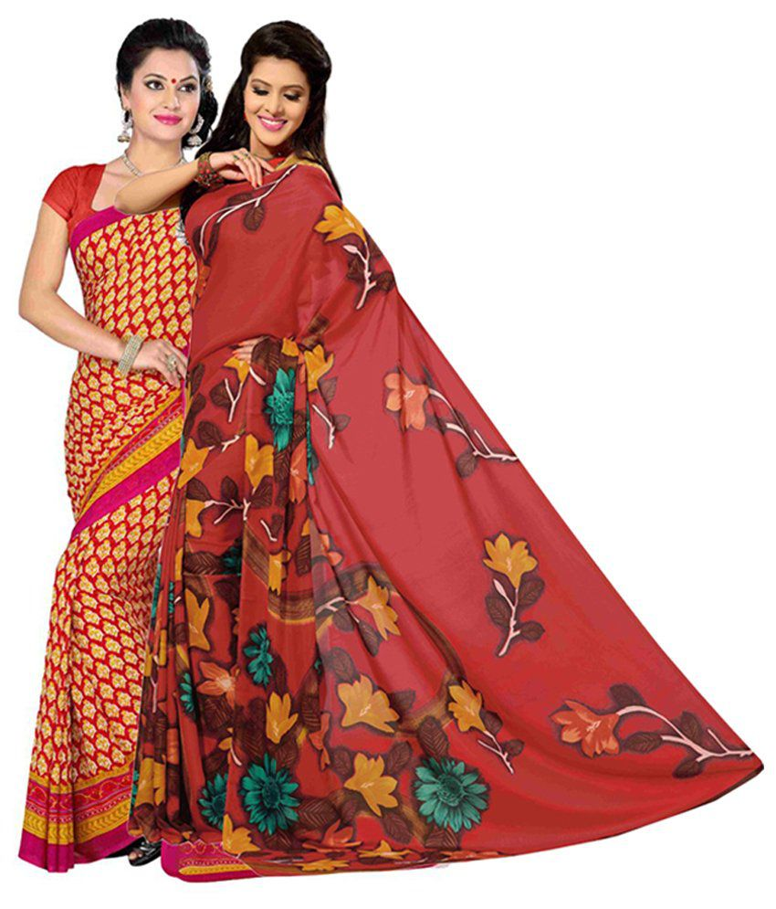 Vritika Red & Yellow Art Silk Saree with Blouse (Pack of 2)