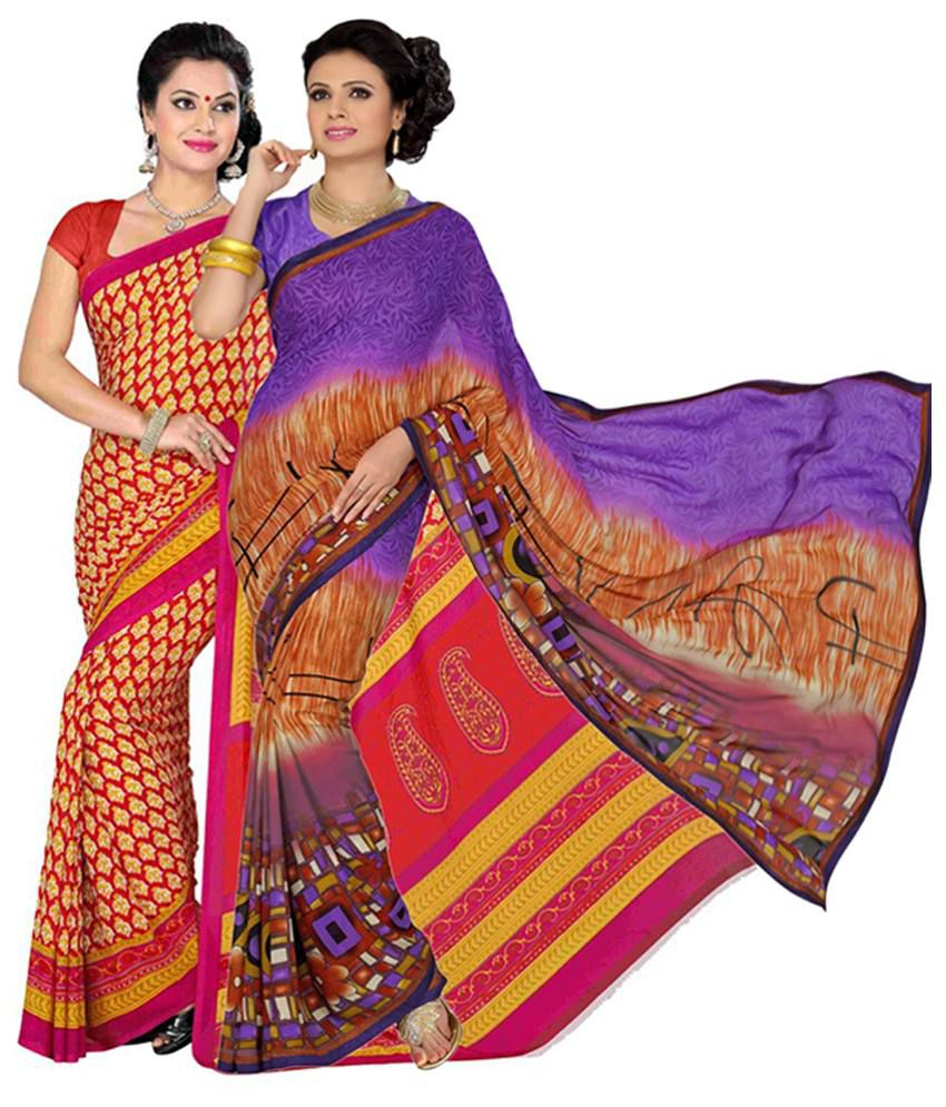 Vritika Yellow & Purple Art Silk Saree with Blouse (Pack of 2)