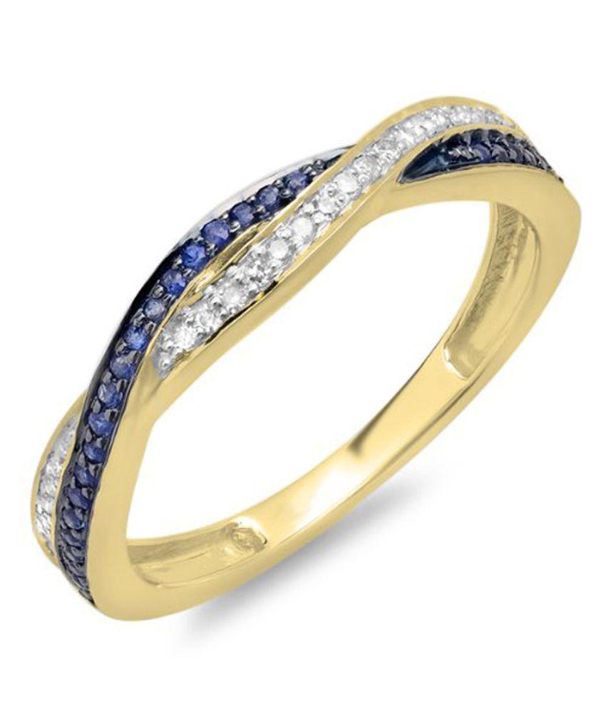 0.25 Carat 10K Yellow Gold Round White Diamond And Blue