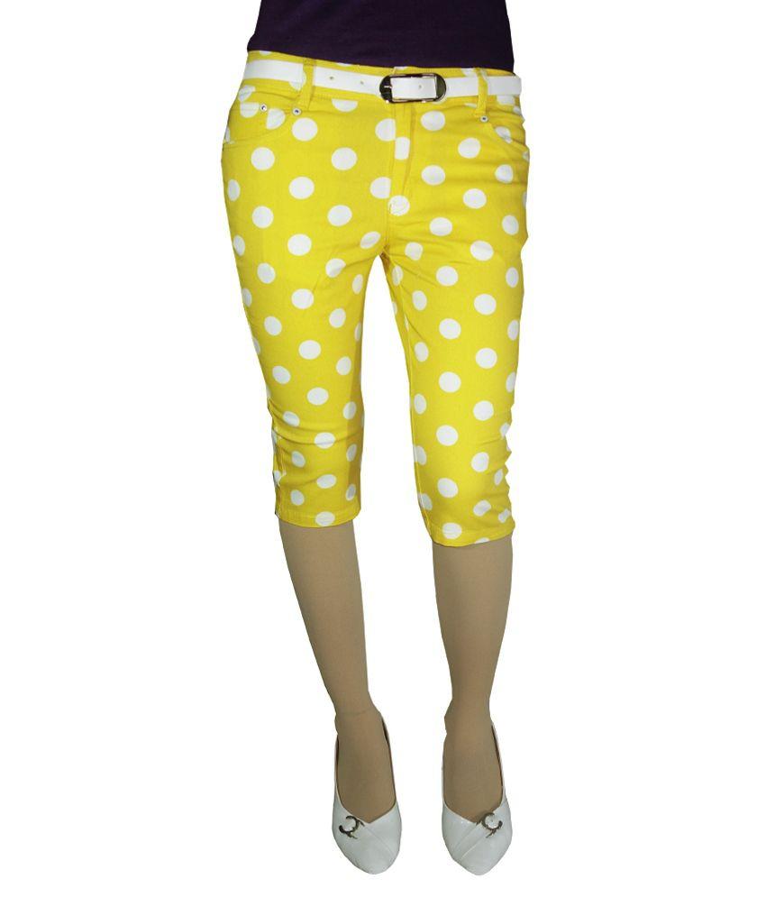 Anjan Yellow Cotton Striped Capris