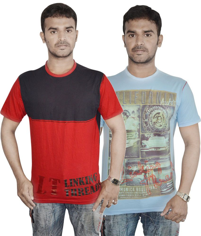 Linking Threads Red and Blue Cotton T-shirts (Combo of 2)