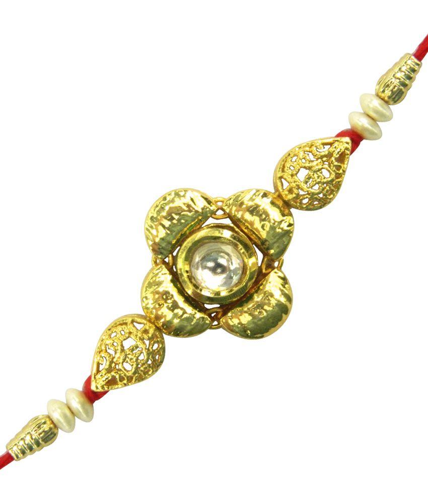 Peora Traditional Floral Kundan Rakhi (R08)