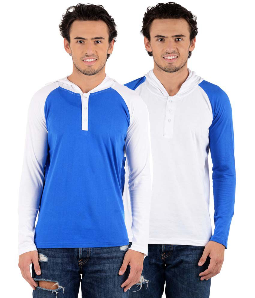 Big Idea Multicolor Cotton Blend Hooded T-Shirt - Pack Of 2