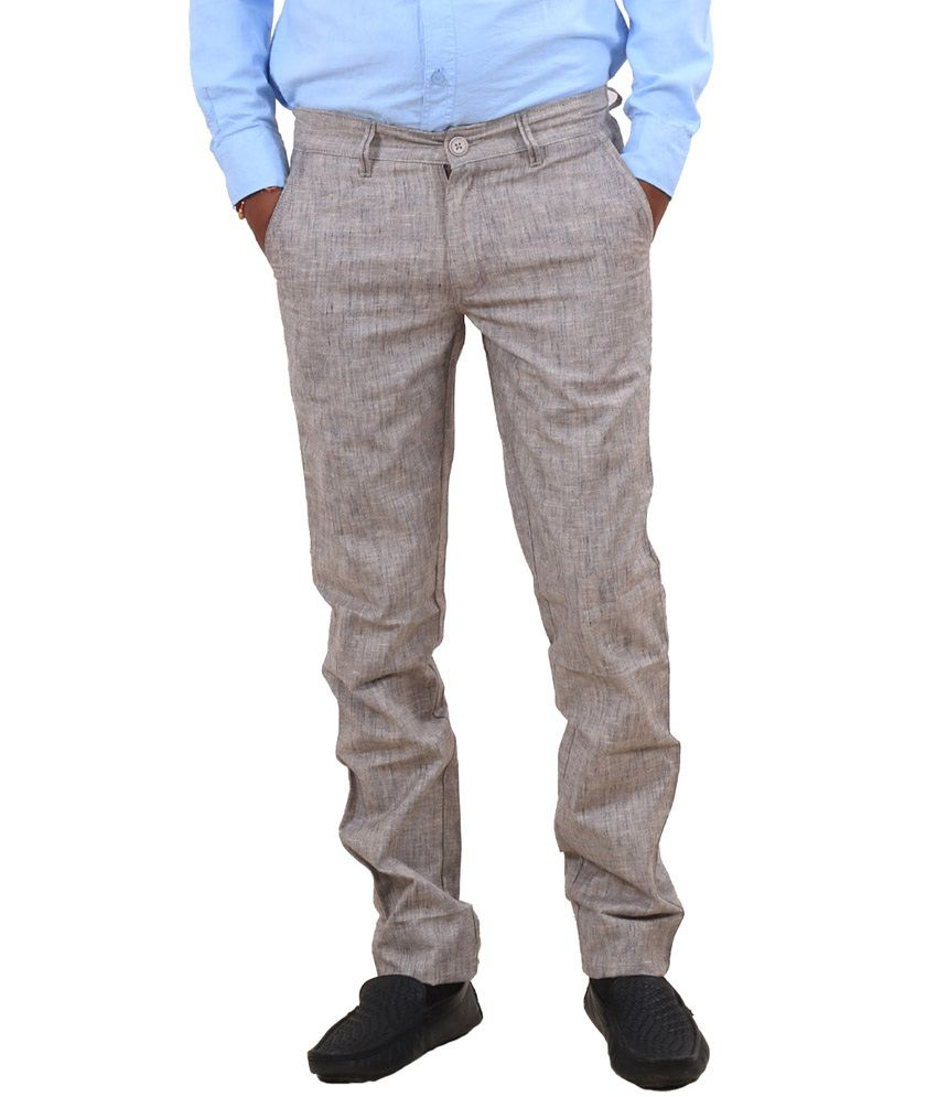 IndiWeaves Gray Cotton Formal Trouser