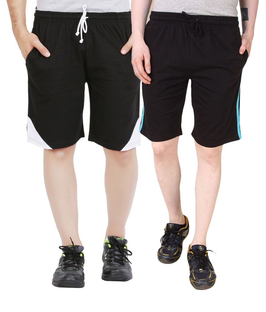 Jeevan Sports Wear Black Polyester Solid Shorts (Pack of 2)