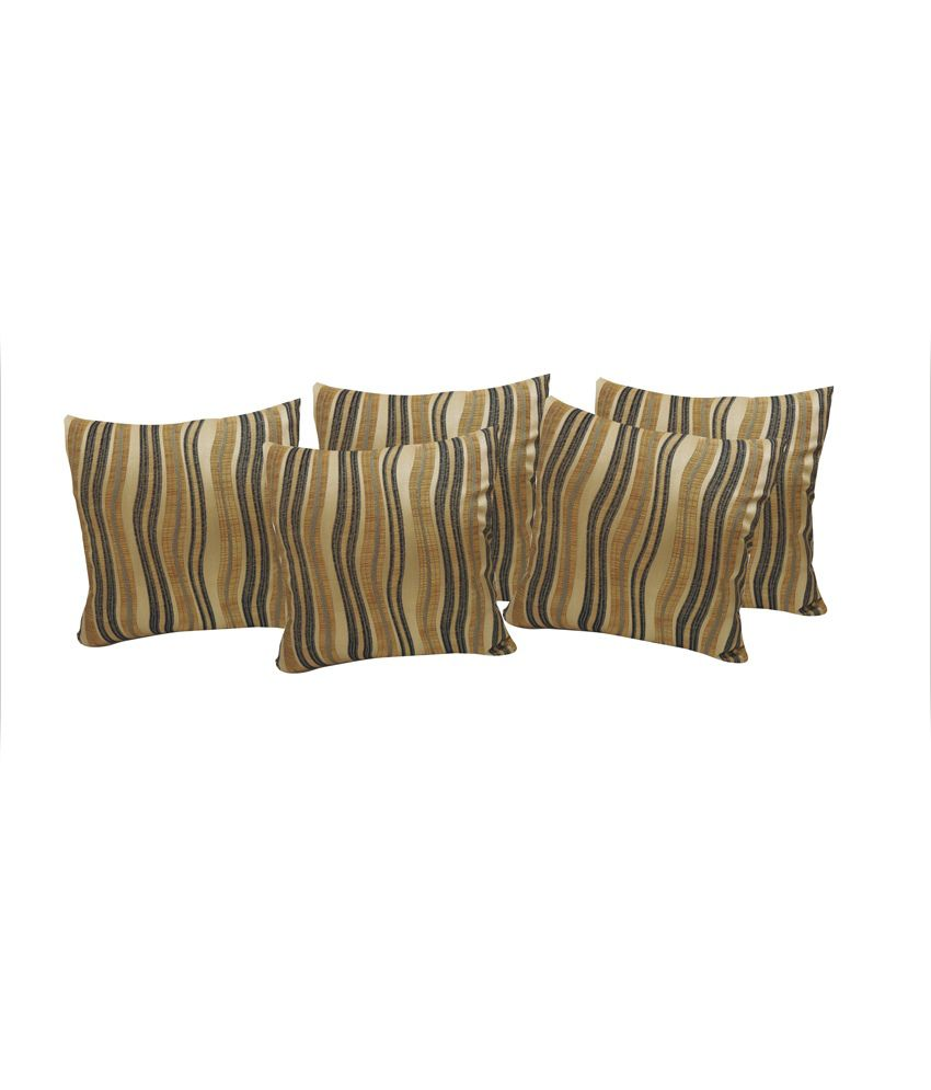 SWHF Gold Polyester Abstract Cushion Cover - Set of 5