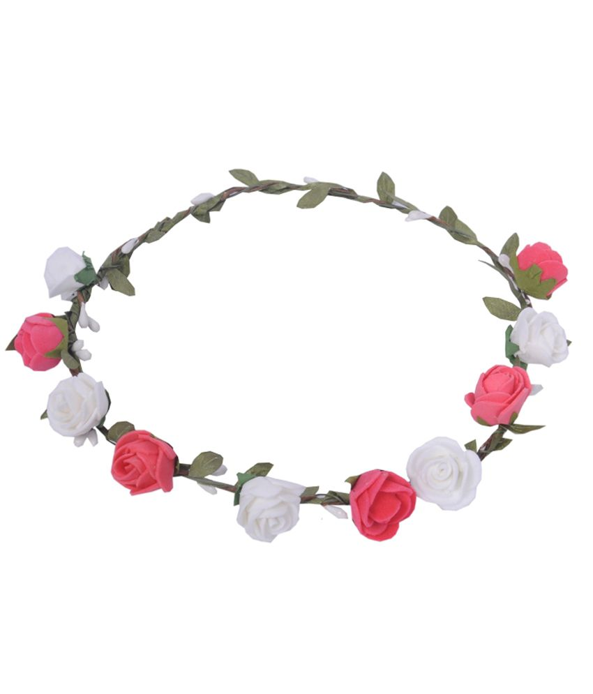 Sanjog Pink And White Flower Tiara Crown Head Wrap For