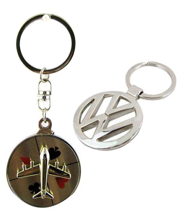 Alexus Combo of Aeroplane A and Volkswagon Metal Key Rings (Pack of 2)