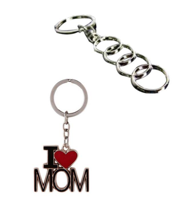 Alexus Combo of Audi and Mom Metal Key Rings (Pack of 2)