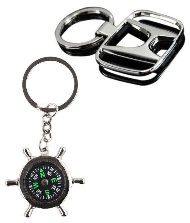 Alexus Combo of Compass and Honda Metal Key Rings (Pack of 2)