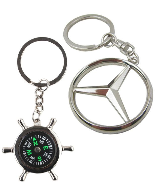 Alexus Combo of Compass and Mercedes Metal Key Rings (pack of 2)