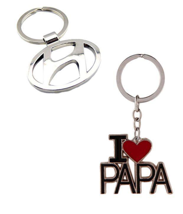 Alexus Combo of Hyundai and Papa Metal Key Rings (Pack of 2)