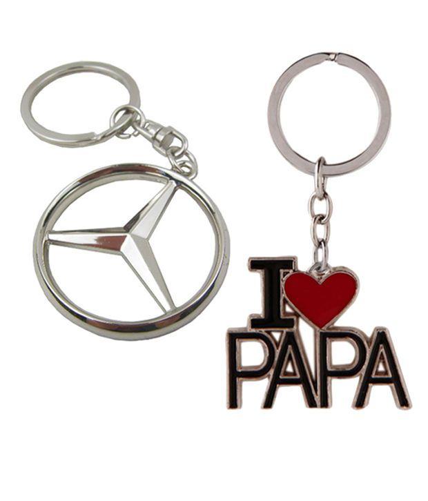 Alexus Combo of Mercedes and papa Metal Key Rings (Pack of 2)