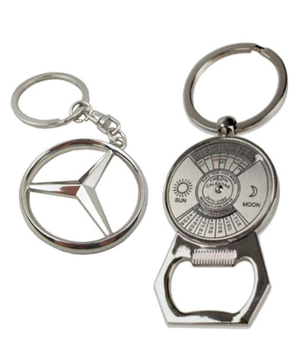 Alexus Combo of Mercedes and Calender Metal Key Rings (Pack of 2)