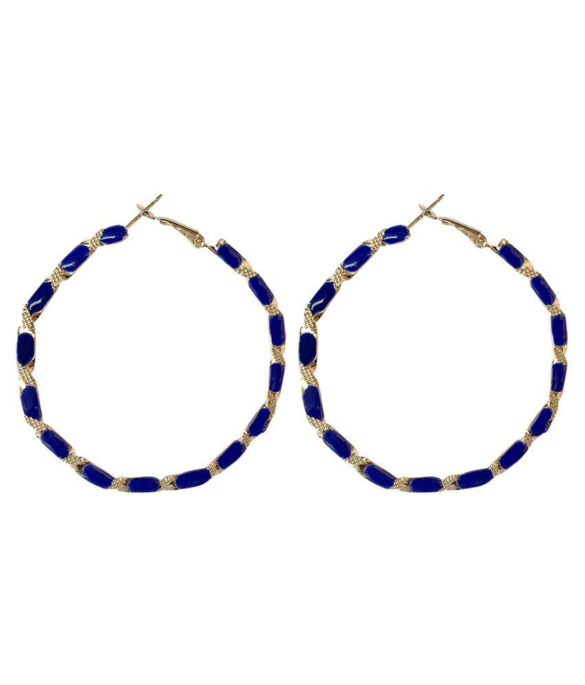 Kamal Jewellers Blue Hoop Earrings