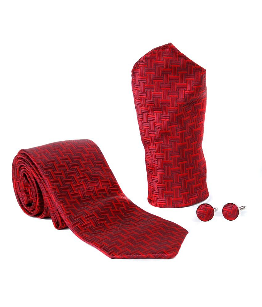Brooch Red Jacquard Strip Broad Tie With Cufflink and Pocket Square
