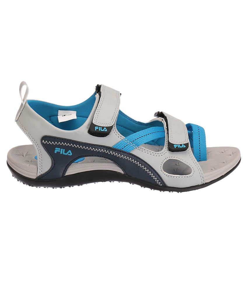 Fila Rewind Gray And Blue Floater Sandals Price In India