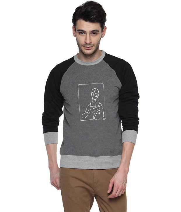 Campus Sutra Gray Cotton Round Neck Sweatshirt