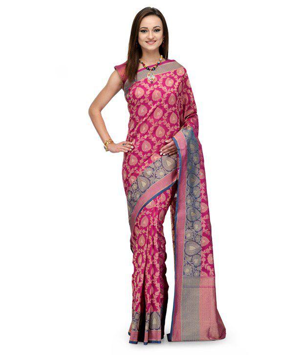 Fabroop Pink Silk Saree