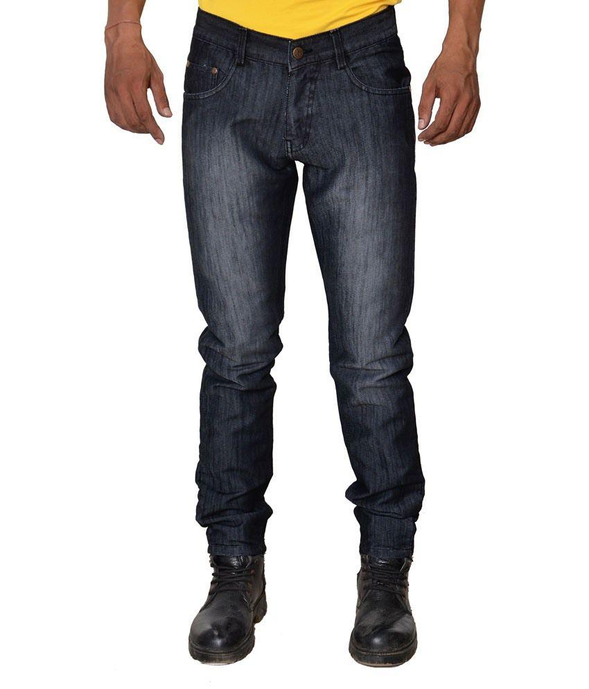 Karya Black Cotton Faded Slim Fit Jeans