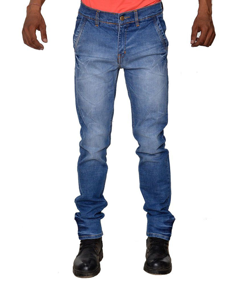 Karya Blue Cotton Faded Slim Fit Jeans