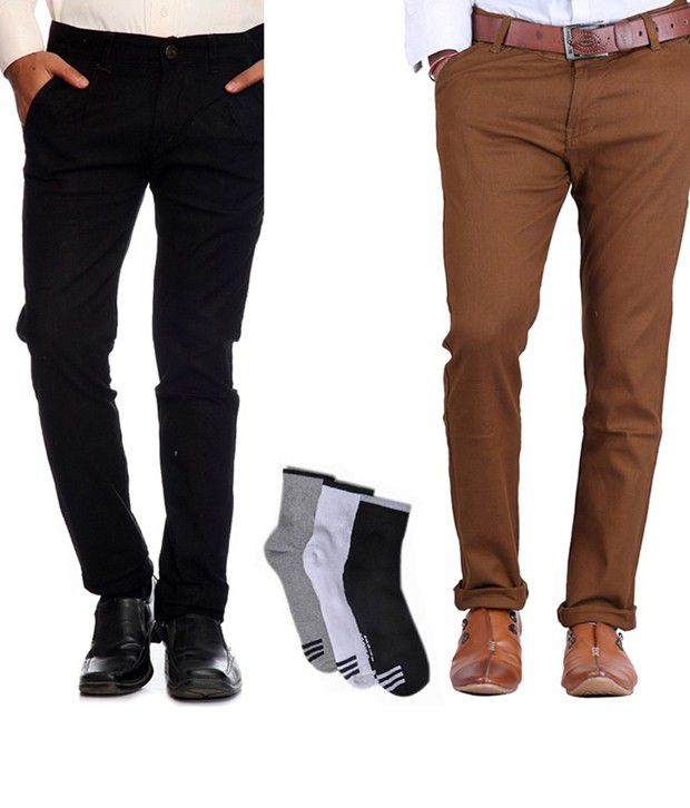 AVE Black and Brown Cotton Lycra Formal Trousers with Combo of Free Socks