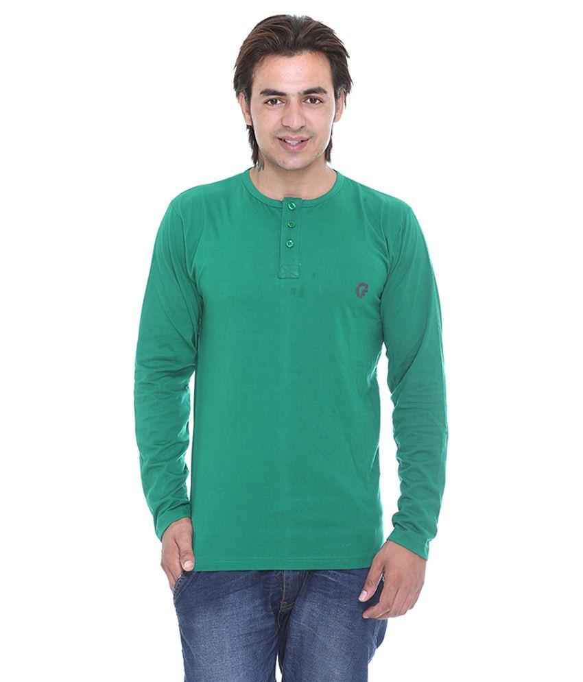 Cee-For Men'S Dark Green Henley Full Sleeve T-Shirt