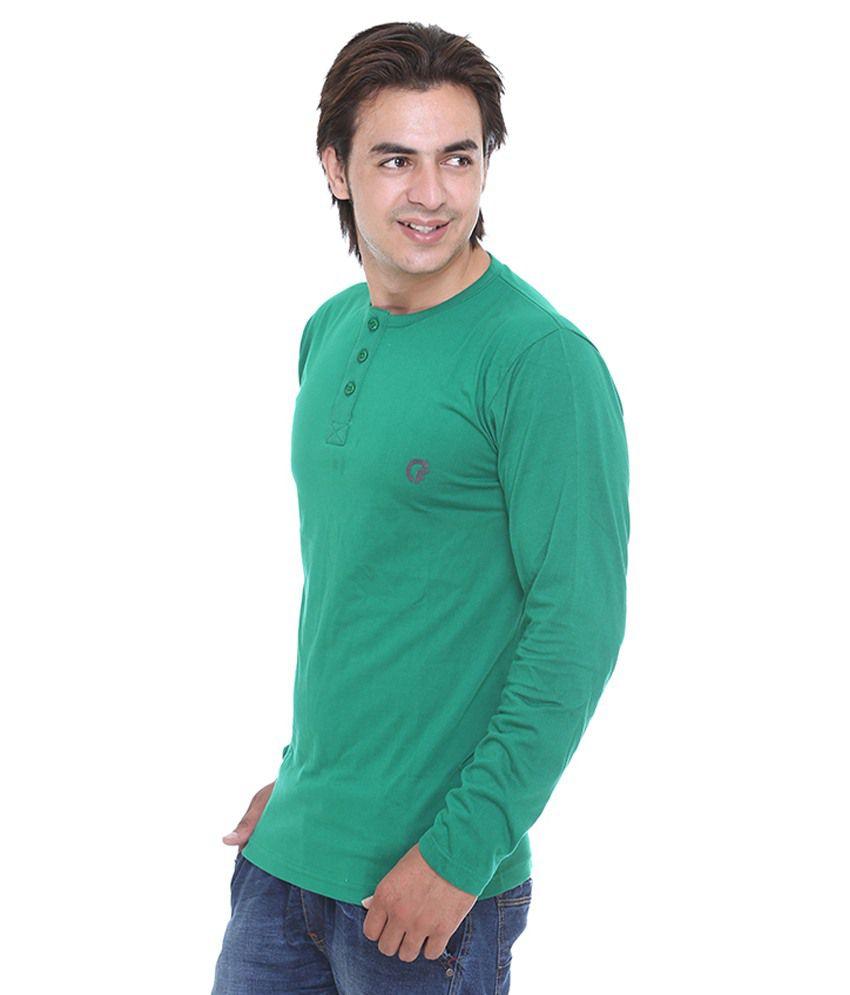 Cee-For Men'S Dark Green Henley Full Sleeve T-Shirt - Buy Cee-For ...