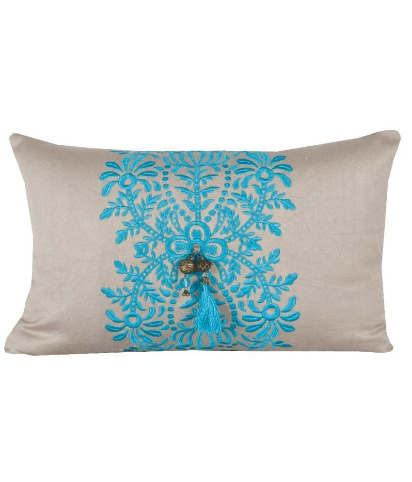 Sanaa Beige Abstract Satin Cushion Cover