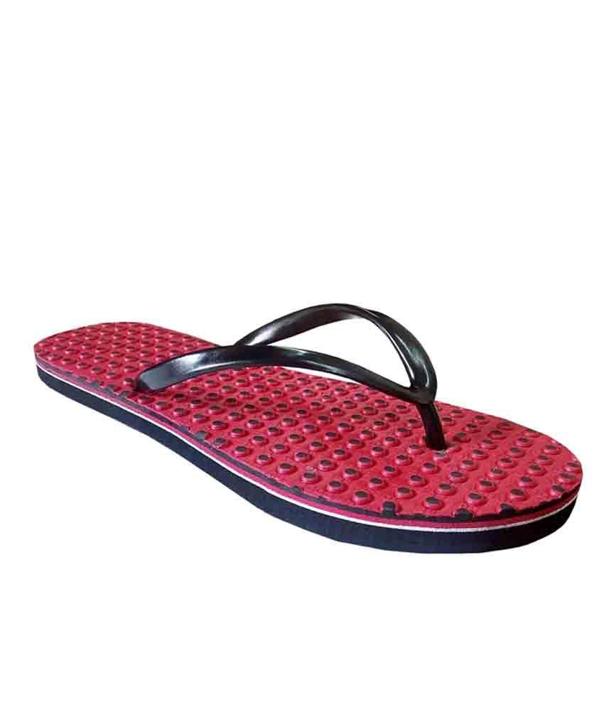 Unispeed Red Accupressure Foot Relief Slippers