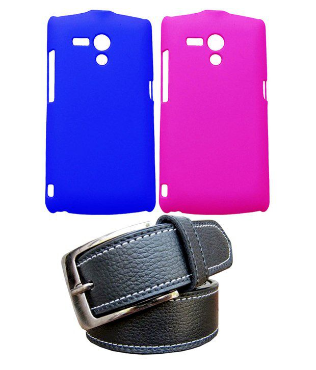 Winsome Deal Black Belt with 2 Back Cover Cases for Sony Xperia Neo L