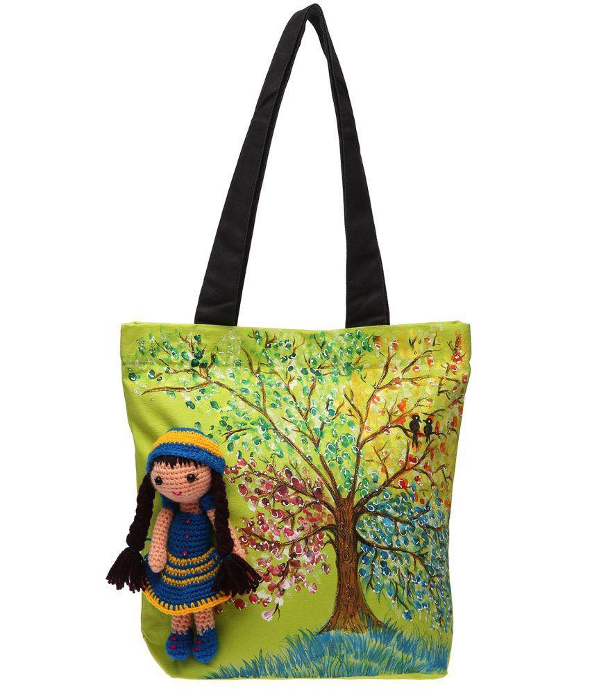 960c8817ec92 Pranil Designs Hand Painted Canvas Tote Bag With Crochet Doll - Buy Pranil  Designs Hand Painted Canvas Tote Bag With Crochet Doll Online at Best Prices  in ...