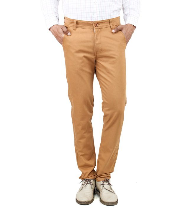 Uber Urban Gold Cotton Casuals Slim Fit Chinos