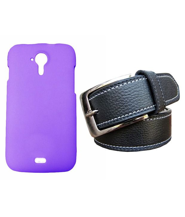 Winsome Deal Black Belt with Back Cover Case for Micromax A 116