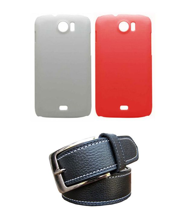 Winsome Deal Black Belt with 2 Back Cover Cases for Micromax A110