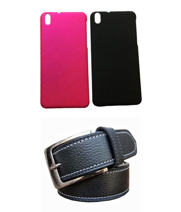Winsome Deal Black Belt with 2 Back Cover Cases for HTC Desire 816