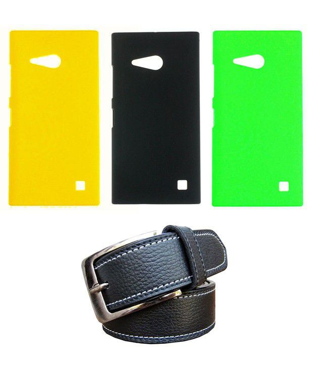 Winsome Deal Black Belt with 3 Back Cover Cases for Nokia Lumia 730