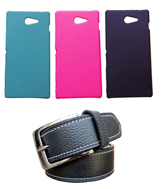 Winsome Deal Black Belt with 3 Back Cover Cases for Sony Xperia M2