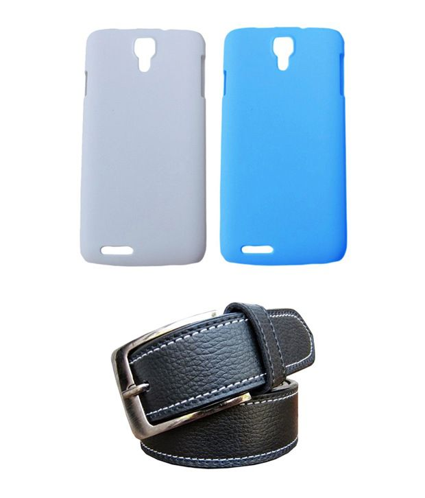 Winsome Deal Black Belt with 2 Back Cover Cases for Micromax Canvas Juice A77