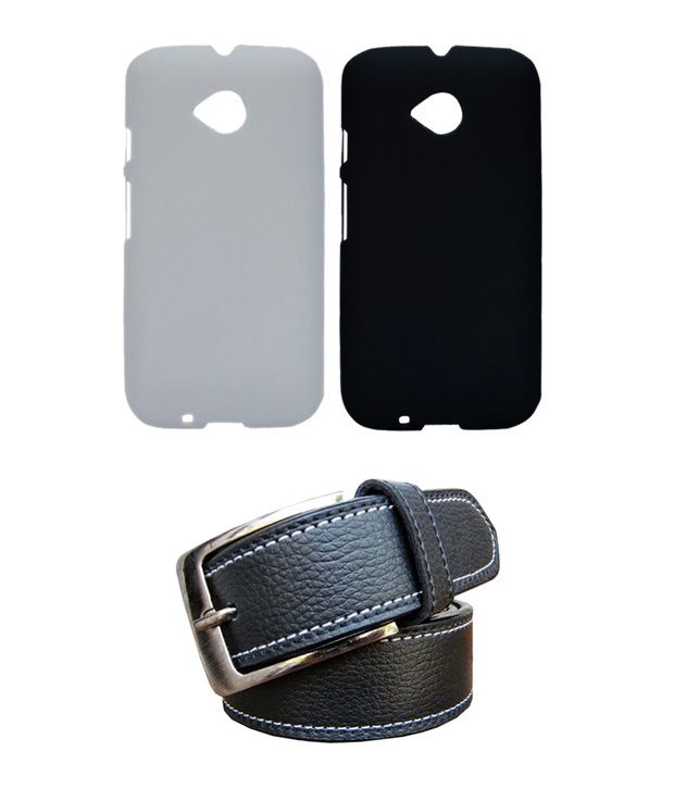 Winsome Deal Black Belt with 2 Back Cover Cases for Motorola Moto E2