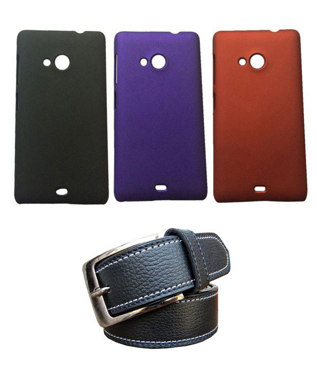 Winsome Deal Black Belt with 3 Back Cover Cases for Nokia Lumia 535