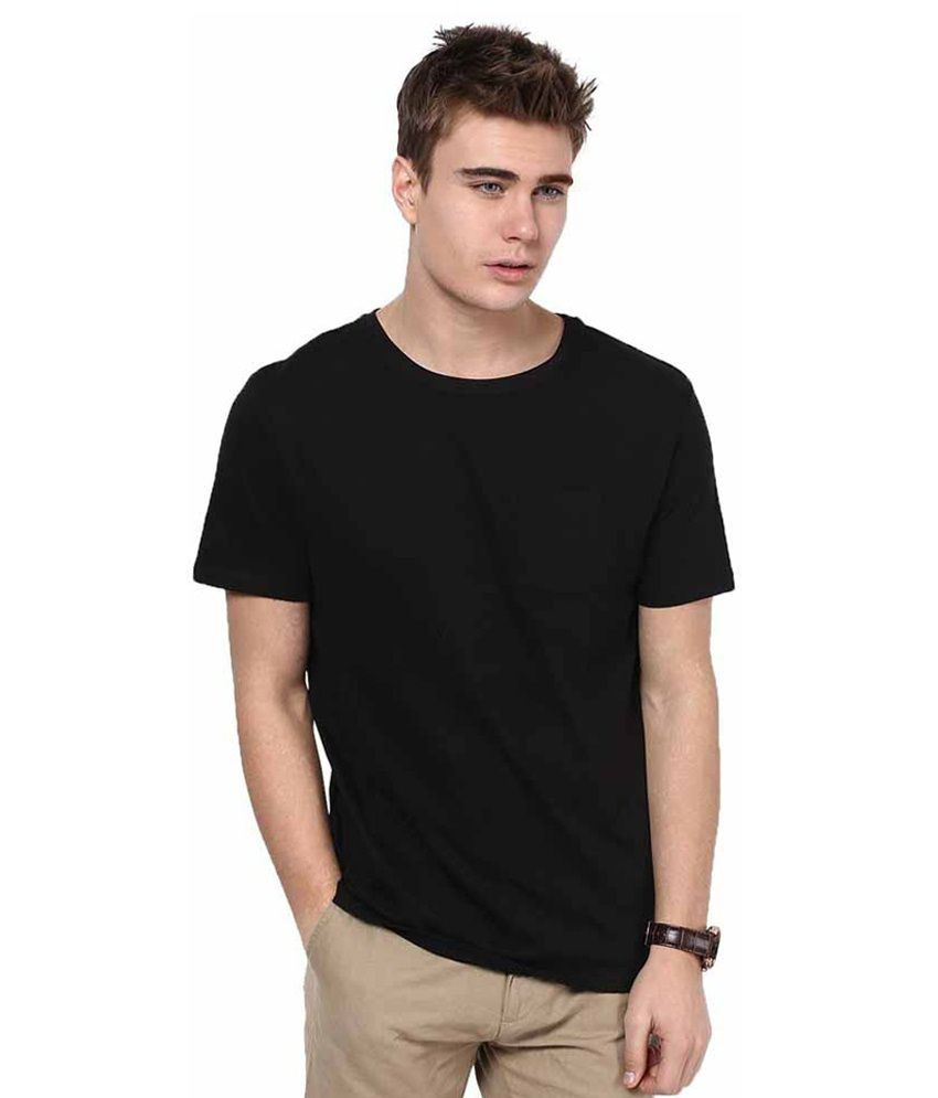Ambe Exports Black Cotton T-shirt