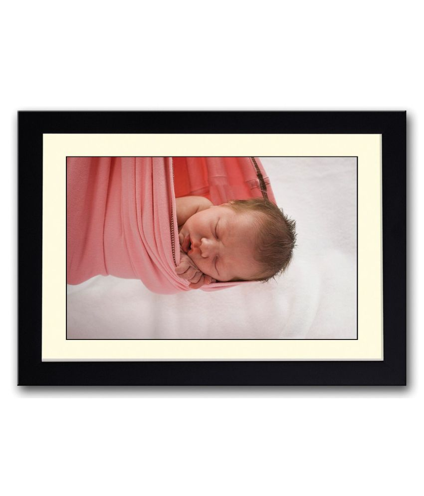 Artifa Matte Baby In A Pink Cloth Swing Painting With Wood Frame