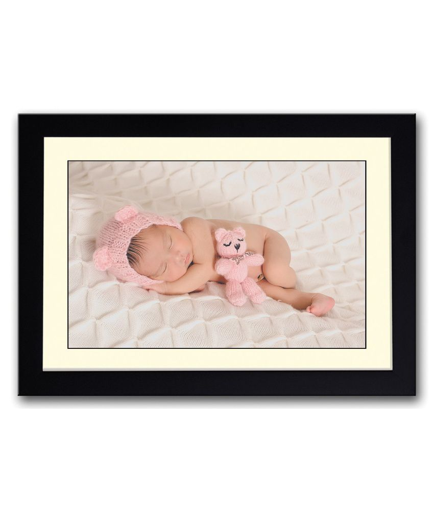 Artifa Matte Baby Sleeping With A Pink Toy Painting With Wood Frame