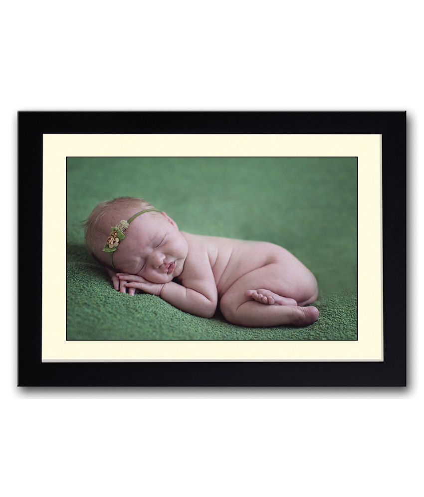 Artifa Matte Cute Baby Sleeping On Green Carpet Painting With Wood Frame