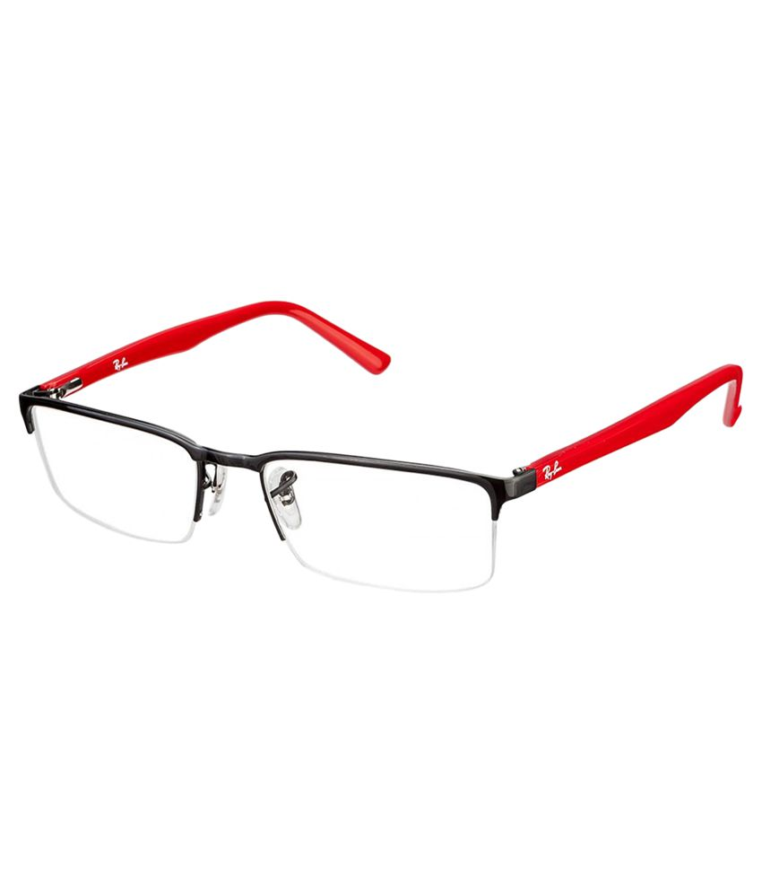 Ray-Ban Black and Red Metal Half Rim Frame Eyeglasses - Buy Ray-Ban ...
