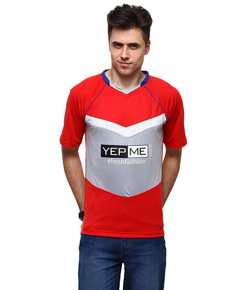 Yepme Red & Grey Jamie Sports V Neck Printed T Shirt for Men
