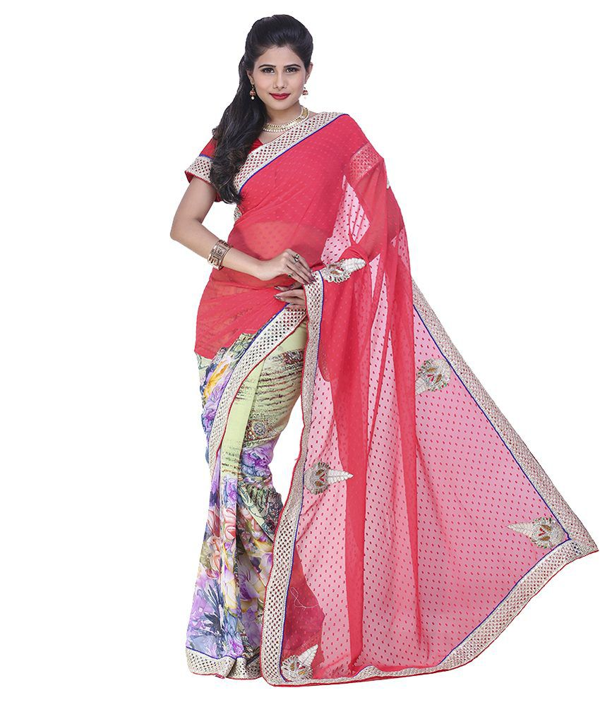 Yura Red Georgette Saree