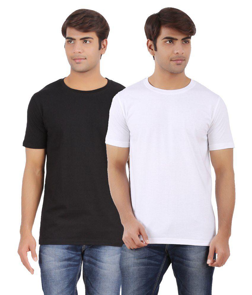 AP'Pulse Black & White Cotton T Shirt Pack Of 2
